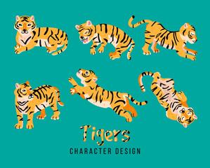 Cute fat tiger sticker pack.