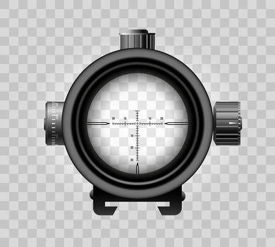 Realistic sniper scope on transparent