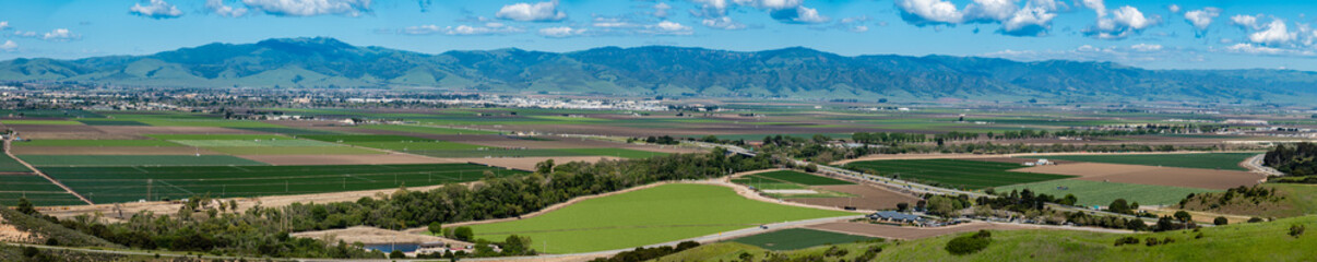 Panorama of multiple merged images of the Salinas Valley of California, the