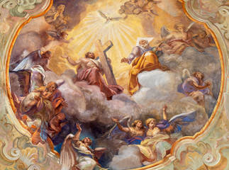 Wall Mural - COMO, ITALY - MAY 8, 2015: The ceiling fresco Glory of Holy Trinity in church Santuario del Santissimo Crocifisso by Gersam Turri (1927-1929).