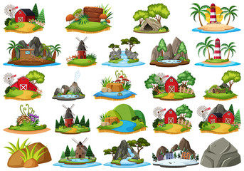 Set of different nature islandss