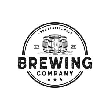 Brewing company with barrel badge vintage logo