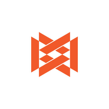 letter mw linked triangle geometric logo vector