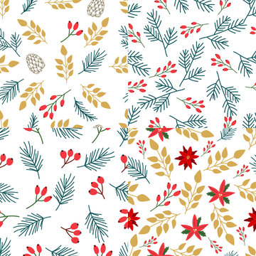 Collection of seamless pattern with abstract Christmas florals.  Vector design for wrapping paper, textile. .