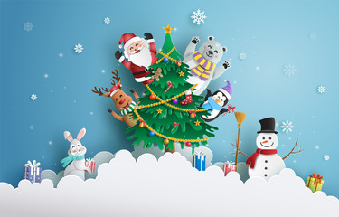 Paper art style of Santa Claus and friends with Christmas tree and snowflake background, Merry Christmas and Happy New Year concept.