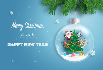 Paper art style of Santa Claus and friends with Christmas tree in Xmas ball, Merry Christmas and Happy New Year concept.