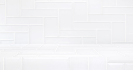 3D luxury white tile table studio background textured for product display with copy space for display of content design.Banner for advertise product on website.3d rendering.