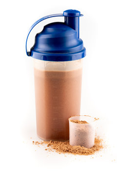 whey protein powder and spoon