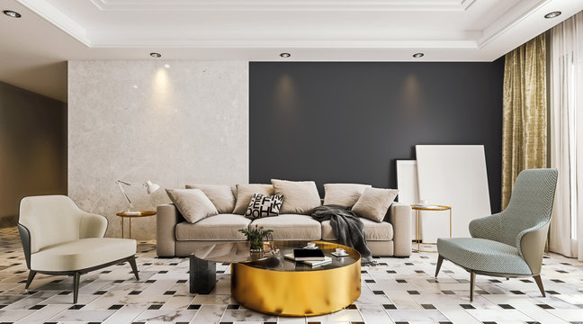 Modern interior design of living room with marble flooring and large glass door with terrace, dropped suspended ceiling, 3d rendering