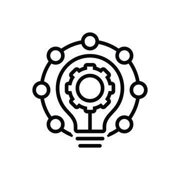 Black line icon for innovation