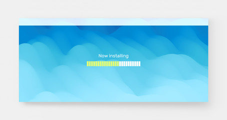 Loading process screen. Installing app or software. Progress loading bar. Abstract background with color gradients. 3d vector Illustration.