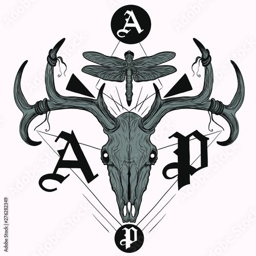 Deer Skull With Lettering T Shirt Tattoo Design Stock Image
