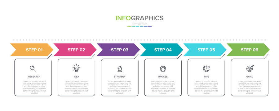 Concept of arrow business model with 6 successive steps. Six colorful rectangular elements. Timeline design for brochure, presentation. Infographic design layout.