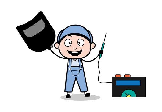 A Happy Welder - Retro Repairman Cartoon Worker Vector Illustration