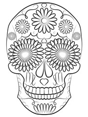 skull illustration, symbol of the traditional Mexican holiday Day of the dead and Day of angels