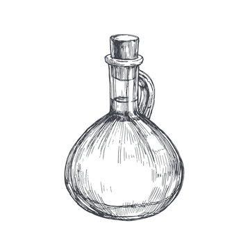 Vector vintage illustration of bottle with oil in engraving style. Hand drawn glass pitcher isolated on white. Food sketch