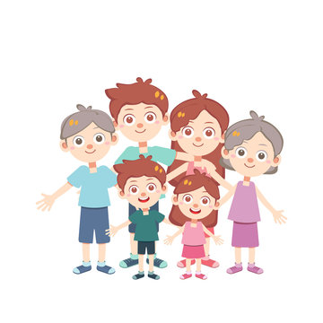happy family time vector isolated
