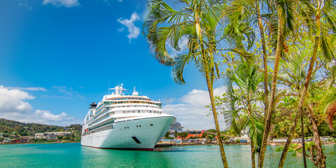 Cruise ship docked in Castries, Saint Lucia, Caribbean Islands.