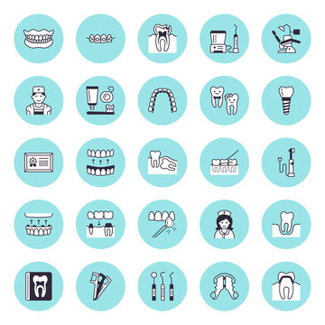 Dentist, orthodontics vector flat line icons. Dental care equipment, braces, tooth prosthesis, veneers, floss, caries treatment. Healthcare thin linear signs for dentistry clinic