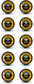 High quality year warranty golden and blackish badge, label, sign set isolated on white background.