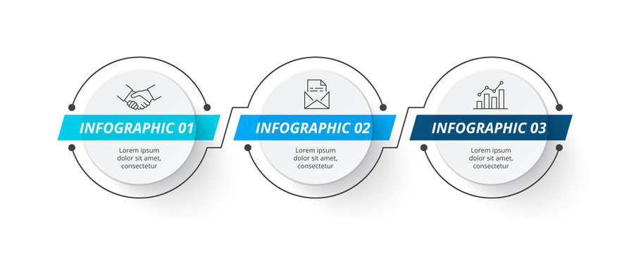 Thin lines with circles for business infographic. Abstract elements for presentation with 3 steps.