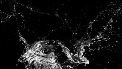 Wall Mural - Water splash isolated on black background