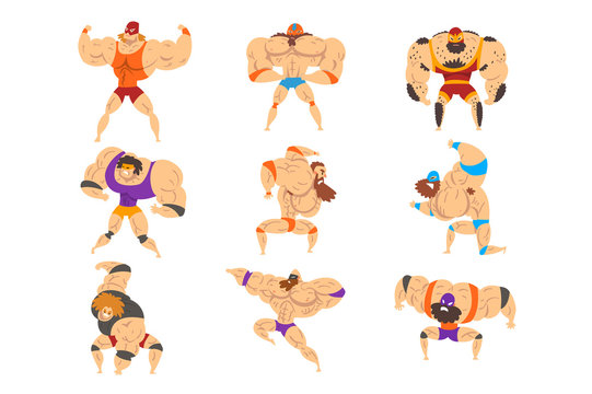 Powerful wrestling fighter characters set, professional wrestler of recreational sports show vector Illustrations on a white background