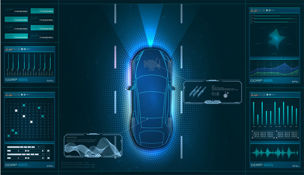 Hardware diagnostics condition of car, scanning, test, monitoring, analysis. Car service in the style of HUD. Virtual graphical interface GUI, UI, HUD Autoscanning, analysis and diagnostics. Vector