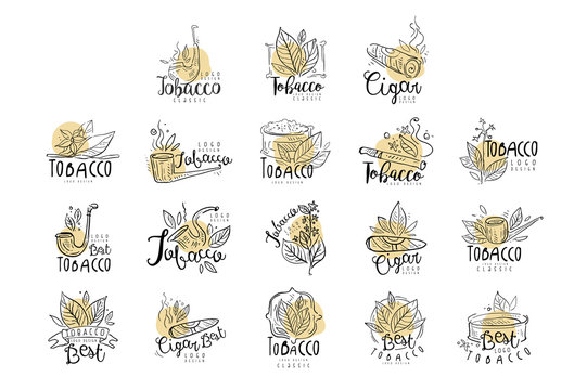 Tobacco logo design set, emblems can be used for smoke shop, gentlemens club and tobacco products hand drawn vector Illustrations