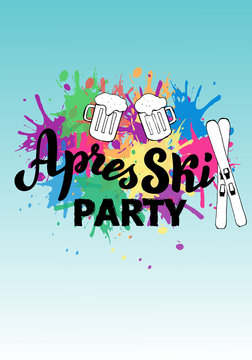 Apres ski party leaflet. Trendy lettering logo banner. Skiing resort poster. Vector eps 10.
