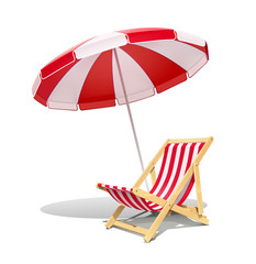 Obraz Beach chaise longue and sunshade for summer rest. Wooden deck chair. Vacation accessory. Summertime relax. Relaxation equipment. Isolated on white background. Eps10 vector illustration. - fototapety do salonu