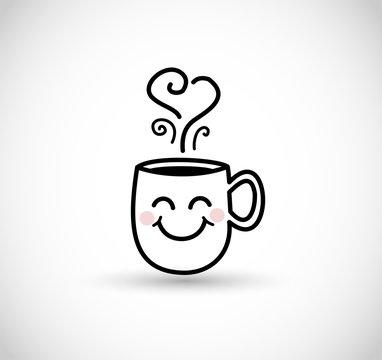 Smiling coffee mug vector doodle icon