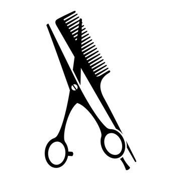 Black and white comb and open scissors silhouette