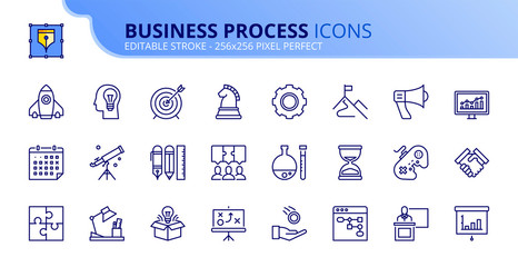 Simple set of outline icons about business process
