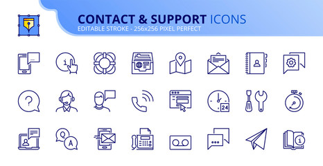 Simple set of outline icons about contact and support