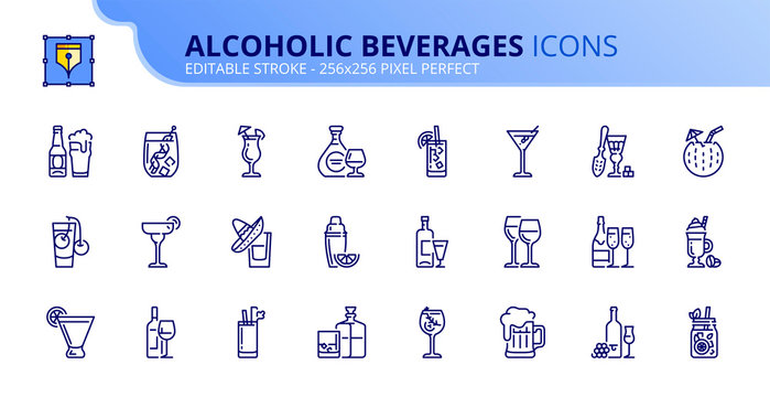 Simple set of outline icons about alcoholic beverages