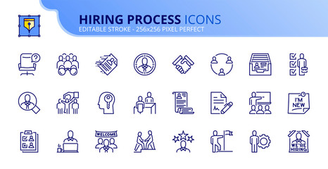Simple set of outline icons about hiring process