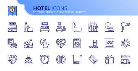 Simple set of outline icons about hotel