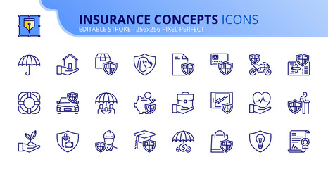Simple set of outline icons about insurance concepts