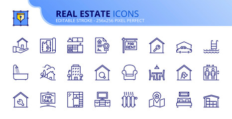 Simple set of outline icons about real estate