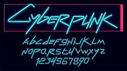 Vector neon cyber font and alphabet. luminescent cyberpunk 2077 font.