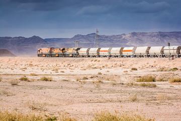 Train of mine in desert of Wadi Rum, Jordan