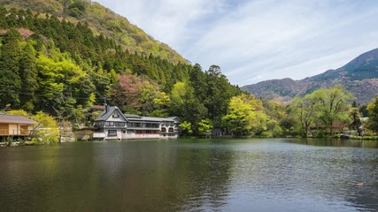 Wall Mural - Lake Kinrin with Mount Yufu in Oita, Japan time lapse