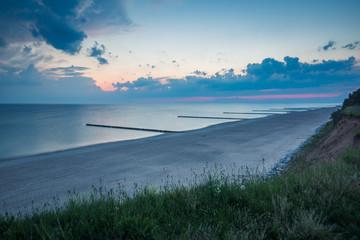 Dawn on the Baltic sea in Trzesacz, Poland