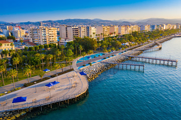 Limassol. Cyprus. The seafront of Limassol Molos day panorama. Beach promenade Limassol from the height. Mediterranean sea coastline. The beaches of Cyprus. Vacation in Cyprus seaside. Wall mural