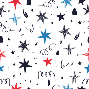 Hand drawn seamless pattern with Fourth of July doodles. Fourth of July holiday. Independence Day. Vector.