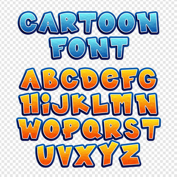 Cheerful, colorful font. Vector set of letters in a children style. Polygonal alphabet. Design elements. Cartoon vector font.