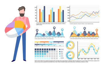 Analysis of data, visualized information vector. Schema and explanation, man with pie diagram and colored segments, graphics and infocharts info set