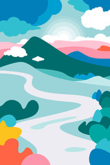 Printed roller blinds Light blue Mountain landscape with a curving river in the foreground and the forests framing it. Cumulus clouds. The poster on the theme of tourism, recreation, environmental protection. Landscape on Earth Day.
