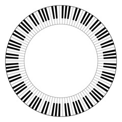 Musical keyboard circle frame, made of connected octave patterns. Decorative border, constructed from octaves, black and white keys of piano keyboard, shaped into repeated motif. Illustration. Vector.